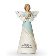 """From the Heavenly Blessings Collection, this beaurtiful 8.25"""" praying Healthcare Angel isthe perfect gift for any medical worker to show your appreciation for them. The dress has the words """"Bless your healing hands and caring Heart."""""""