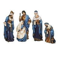 """9.5""""H- 1`5""""H Figures comprise this beautiful 4 piece blue and gold nativity scene. Figures include the Three Wisemen and the Holy Family. Actual dimensions are 9.5""""-15""""H 29""""W 5""""L. Figures are made of resin."""