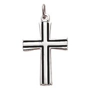 """Beautiful Sterling Silver  with Black Fill Cross. Cross comes on an 18"""" chain, and is boxed. Made in the USA."""