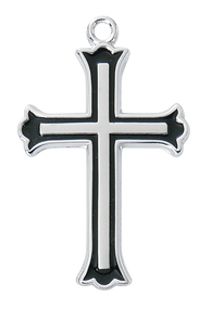 """Beautiful Sterling Silver  with Black Fill Cross with Flared Edge. Cross comes on an 18"""" chain, and is boxed. Made in the USA."""