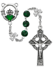 8mm Green Glass Beads with Silver Ox Shamrock Our Father Beads. Rosary has a green enameled claddagh center with a silver ox celtic cross. Rosary comes in gift box. Made in the USA