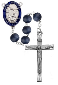 8mm Round Blue Wood Bead Rosary. Blue enameled Pewter St. Michael Center and pewter Crucifix.  Deluxe Gift Box Included. Made in the USA
