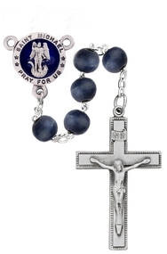 8mm Round Blue Wood Bead Rosary. Round blue enameled pewter St. Michael Center and Crucifix.  Deluxe Gift Box Included. Made in the USA