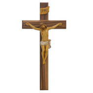"""13"""" Beveled  Wood Walnut Crucifix with hand painted Italian corpus and INRI. Gift box included. The 13""""H beveled wood   crucifix is made in the USA."""