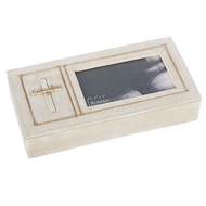 """Confirmation Photo Keepsake Box is made of a resin/dolomite material. Measurement for the Photo/Keepsake Box are 1.75""""H  and it  holds a 3.5""""x5"""" Photo."""