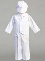 Corey Christening Outfit is an embroidered cotton vest with poly pants. Poly cotton shirt has an opening at the back. Corey has a matching necktie and hat. Cory is made in the USA. Available in Sizes 0-3mths, 3-6mths, 6-12mths, 12-18mths