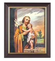 """St Joseph with The Child Jesus in a fine detail channel grooved dark walnut frame with gold inside lip. Overall Dimensions are 10"""" X 12"""",  1.25"""" Wide Facing to Fit an 8"""" x 10"""" Italian Lithograph Under Glass."""