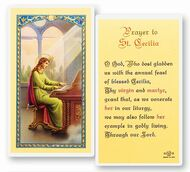 Prayer to St Cecelia.  Clear, laminated Italian holy card.  Features World Famous Fratelli-Bonella Artwork. 2.5'' x 4.5''