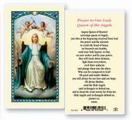 Our Lady Queen of Angels. Clear, laminated Italian holy card.  Features World Famous Fratelli-Bonella Artwork. 2.5'' x 4.5''