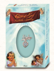 Silver Plated Baby Pin with Blue Enameled Heart shape Miraculous Medal