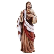 """Sacred Heart of Jesus 4"""" Statue. The Sacred Heart of Jesus statue is a resin/stone mix."""