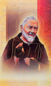St Padre Pio Pamphlet. This pamphlet is a 2 page biography of St Padre Pio.  His name meaning, His patron attributes, Prayers to St Padre Pio and his Feast Day are all included in the pamphlet. Gold stamped Italian art.