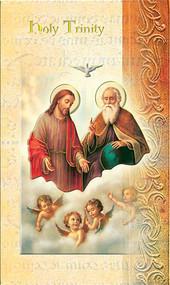 "The Holy Trinity Folder. Folder is a 2 Page pamphlet about the Holy Trinity and the pamphlet is gold stamped Italian art. Folder measures 5.375"" X 3.25""."