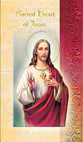"""Sacred Heart of Jesus Folder. Sacred Heart of Jesus Folder is a 2 Page Biography that includes Sacred Heart of Jesus history, his  attributes, a prayer and his feast day.   Biography Folder is gold stamped Italian art. Folder measures 5.375"""" X 3.25""""."""