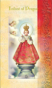 """Infant of Praque Folder. Infant of Praque Folder is a 2 Page Biography that includes Infant of Praque history, his  attributes, a prayer and his feast day.   Biography Folder is gold stamped Italian art. Folder measures 5.375"""" X 3.25""""."""