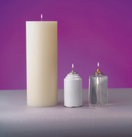 """4 1/2"""" Solid Nylon Shells are hand-crafted to duplicate a high quality, traditional wax candle. All nylon shells include top rings and adapters for 1/4"""", & 5/16"""" threaded shafts. PRICE IS CALCULATED PER INCH ~ Additional heights above 48"""" are available, call 1 800 523 7604 for pricing. Made in the U.S.A. Accessories for 4 1/2""""D ~  Refillable 70 hour can of liquid paraffin ~ (REF700)"""