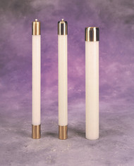 """Handcrafted quality nylon candles in eight diameters: 7/8"""", 1"""", 1 1/8"""", 1 1/4"""", 1 1/2"""", 1 15/16"""", 2 1/2"""" and 3"""". Complete with satin or high polish brass burner and wick. All candles are manufactured with a straight base. Custom modification to accommodate any size socket are available upon request. Custom heights and diameters also available. Please call for information."""