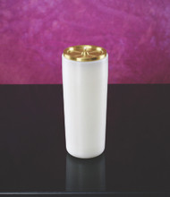 This Sanctuary Light refillable candle comes complete with brass top, wick, and package of seven additional wicks. For use with Lux Mundi Altar pure liquid paraffin