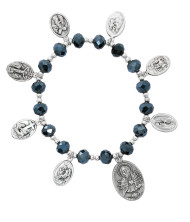 """Seven Sorrows Black AB 7.5"""" Stretch Bracelet. 8MM black AB beads with silver ox 7 sorrows medals. Bracelet comes in a white see through box. Made in the USA"""