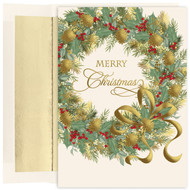 """Traditional Wreath Holiday Collection Boxed Holiday Card  This boxed holiday card features Gold Foil and an emboss. Inside Sentiment: """"May every happiness be yours at this beautiful season and throughout the coming year"""" 16 cards/16 foil lined envelopes. Folded Card Size 5.625 x 7.875. Packaged in a printed box with an inside fit acetate lid."""