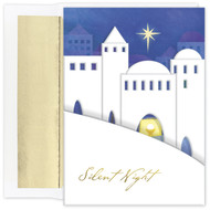 """Bethlehem Star, Boxed Holiday Cards Bethlehem Star boxed holiday cards feature gold foil, embossing and die-cut. Inside Sentiment: """"Holy Night"""" 18 cards / 18 foil lined envelopes. Folded Card Size: 5.625"""" x 7.875"""". Packaged in a printed box with an inside fit acetate lid. Must be purchased in increments of six boxes."""