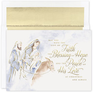 """Blessing of Hope, Boxed Christmas Cards Blessing of Hope, boxed Christmas cards feature gold foil. Inside Sentiment: """"May The Hope That Was Born That Silent, Holy Night Remain In Your Heart Throughout The Year. Merry Christmas"""" 18 cards / 18 foil lined envelopes. Folded Card Size: 7.875"""" x 5.625"""". Packaged in a printed box with an inside fit acetate lid."""