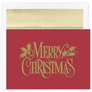 """Christmas Nostalgia Boxed Christmas Card """"Christmas Nostalgia"""" boxed holiday cards feature gold foil and embossing. Inside Sentiment: """"May All The Joys Of The Season Be Yours For The Holidays"""" 18 cards / 18 foil lined envelopes. Folded Card Size: 7.875"""" x 5.625"""". Packaged in a printed box with an inside fit acetate lid."""