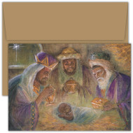 """""""Blessed Christmas"""" Violet Hewitt Chandler Boxed Christmas Cards Violet Hewitt Chandler boxed Christmas cards featurie four color printing. Inside Sentiment: """"As The World Is Blessed With Christmas, May Your Life Be Blessed With Joy."""" 18 cards / 18 envelopes. Folded Card Size: 7.875 x 5.625. Packaged in a printed box with an inside fit acetate lid"""