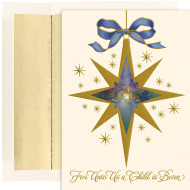 """Nativity Star Holiday Collection Boxed Holiday Cards  """"Nativity Star"""" boxed Christmas cards feature gold foil, embossed. Inside Sentiment: """"His Birth...A Miracle His Love...Our Gift His Day...Time To Rejoice Let Us Rejoice In All He Has Given Us And Love Each Other As He Love Us. Merry Christmas"""" 16 cards/16 foil lined envelopes. Folded Card Size 5.625 x 7.875. Packaged in a printed box with an inside fit acetate lid."""
