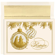 """""""Rejoice Ornament"""", Boxed Christmas Cards Cards feature Gold and Pearl Foil. Embossed. Inside Sentiment: """"As The World Rejoices In The Wonder Of His Birth, May You Be Blessed With A Beautiful Christmas And With Every Happiness In The New Year. """" 16 cards/16 foil lined envelopes. Folded Card Size 5.625 x 7.875. Packaged in a printed box with an inside fit acetate lid."""
