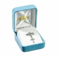 """Baby cross pendant on a godchild bar pin. Solid .925 sterling silver double sided pendant. Dimensions: 1.1"""" x 0.7""""(28mm x 17mm) Weight of medal : 0.5 Grams. Made in USA. Deluxe velvet gift box."""