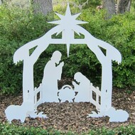 """Decorate your yard, business or church with this waterproof 44"""" Lawn Nativity Set. Composed of high quality marine grade plastics, that will not fade, warp, rot or de-laminate !! While these sets do not require painting or maintenance, you can paint the nativity scene to your desired color.  Entire set can break down to store in compact box or area 43 1/2"""" x 23 1/2"""". Staking kit (included) allows set to stand up to any inclement weather. Made in the USA by American workers! Comes flat boxed."""