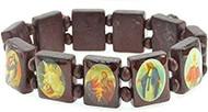Brazilian Wood Saints Bracelet. 3/4 in. Rectangular Shaped with Brown Wooden separator beads