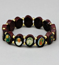 Brazilian Wood Saints Bracelet. 1/2 in. Round Shaped with Gold separator beads
