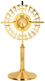"""The K224 monstrance is two-tone gold plated with bright silver accents.  This monstrance features a secure acrylic glass luna. Dimensions:  24"""" H., 9 1/2"""" base.  Holds 2 3/4"""" host."""