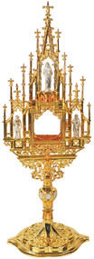 """24k gold plated with silver plated statues and emblems on node. Monstrane is 23"""" H., 8"""" face, 8"""" x 5-3/4"""" base. With clip-style (glassless) luna. Available with a secure acrylic glass enclosed luna for an additional charge."""
