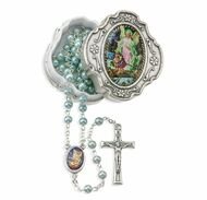 4mm Light Blue Beads Guardian Angel Rosary in a Metal Box.