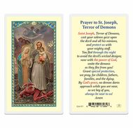"""St. Joseph """"Terror of Demons"""" Laminated Holy Card. Clear, laminated Italian holy cards with gold accents. Features World Famous Fratelli-Bonella Artwork. 2.5'' X 4.5''"""