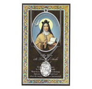 """St Teresa of Avila is named the Doctor of the Church. She  is the patron saint of Florists. Set includes a 3"""" X 5"""" vinyl folder with removable oxidized medal.  1.125"""" Genuine Pewter Saint Medal won a Stainless Steel Chain. Silver Embossed Pamphlet with Patron Saint Information and Prayer Included. Biography/History of the Saint and gives the Patron's attributes, Feast Day and Appropriate Prayer. (3.25""""x 5.5"""")"""