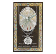 """The Holy Spirit pewter medal and prayer card. 3"""" X 5"""" vinyl folder with removable oxidized medal.  1.125"""" Genuine Pewter Saint Medal won a Stainless Steel Chain. Silver Embossed Pamphlet with  Information and Prayer Included.  (3.25""""x 5.5"""")"""