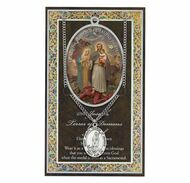 """St. Joseph """"Terror of Demons"""".  3"""" X 5"""" vinyl folder with removable oxidized medal.  1.125"""" Genuine Pewter Saint Medal on a Stainless Steel Chain. Silver Embossed Pamphlet with Patron Saint Information and Prayer Included. Biography/History of the Saint and gives the Patron's attributes, Feast Day and Appropriate Prayer. (3.25""""x 5.5"""")"""