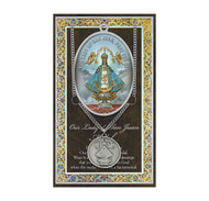 """Silver Embossed Pamphlet with Our Lady of San Juan Biography and Prayer. Genuine pewter Our Lady of San Juan round medal. 18"""" Stainless steel chain. Size of medal: 1"""" (25mm) 1.0"""". Pamphlet dimensions: 3.25""""x 5.5"""" (83mm x 139mm) (3-1/4"""" x 5-1/2"""") Made in the USA Packaged in a clear pouch."""