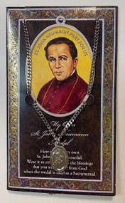 """Set includes a 3"""" X 5"""" vinyl folder with removable oxidized medal.  1.125"""" Genuine Pewter Saint Medal on a Stainless Steel Chain. Silver Embossed Pamphlet with Patron Saint Information and Prayer Included. Biography/History of the Saint and gives the Patron's attributes, Feast Day and Appropriate Prayer. (3.25""""x 5.5"""")"""