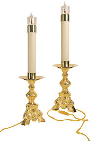 """24k gold plated. 10-3/4""""H., 6-1/4"""" base. Electrified. 1-3/4"""" x 12"""" candle with flicker bulb. (Priced per One Candle)"""