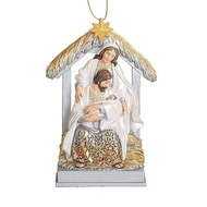 """This beautiful and detailed ornament features the Holy family in a stable. Add this ornament to your Christmas tree for a festive and meaningful touch.  Details:  Made with a resin/stone mix Features Holy family in a stable and barn animals Dimensions: 5.5""""H x 3.25""""W x 0.5""""D This beautifully designed ornament brings more meaning to your Christmas tree decorations and helps us remember the reason for the seasons. Add this ornament to your tree this year and be sure to shop our other Christmas ornaments and figurines today!"""