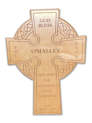 """Personalized Baltic Birch Wood Celtic Cross.  Celtic wood cross can be personalized with your Family Name, Date of Establishment, and a choice of two sayings. """"Cead Mile Failt"""" or """"May Love and Laughter Light Your Days."""" The Wooden Celtic Cross measures 7.5"""" W x 11""""H x .5""""D"""