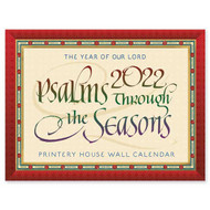 This calendar features quotations from the Psalms from Abbey Psalms and Canticles, a psalter translation prepared by the monks of Conception Abbey and approved for use in Roman Catholic liturgical books in the United States, beautifully rendered in calligraphy with Beuronese borders and backgrounds based on art found in the basilica at Conception Abbey.