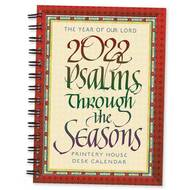 """This calendar features quotations from the Psalms from Abbey Psalms and Canticles, a psalter translation prepared by the monks of Conception Abbey and approved for use in Roman Catholic liturgical books in the United States, beautifully rendered in calligraphy with Beuronese borders and backgrounds based on art found in the basilica at Conception Abbey. Measures:  6"""" X 8"""""""