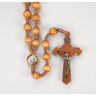 Wood Bead Saint Joseph the Worker Cord Rosary