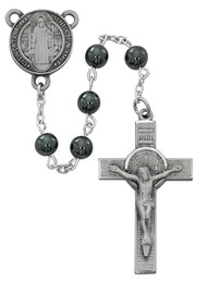 6mm Hematite Beads Rosary with silver oxidized Crucifix and St Benedict Center. Rosary presents in a deluxe gift box.  Made in the USA.